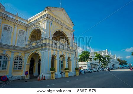 George Town, Malaysia - March 10, 2017: Beautiful scenic view of Penang City Hall, a British-built, Edwardian-style building in George Town