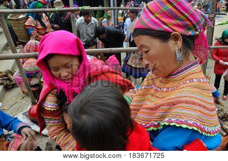 Hmong Minority People In Traditional Dress. Sa Pa, Northern Vietnam