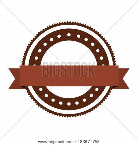 realistic brown color heraldic circular shape stamp with decorative ribbon and dotted vector illustration