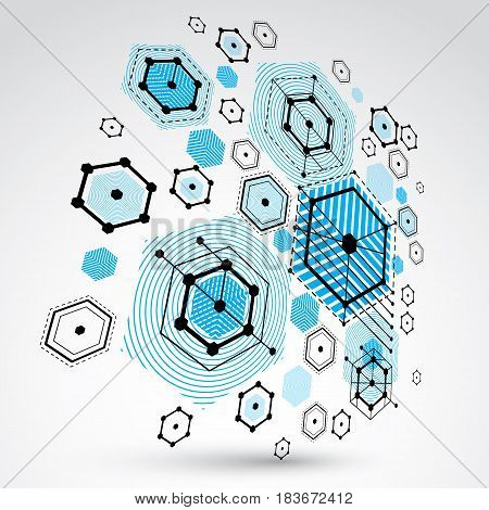 Modular Bauhaus 3d vector background created from geometric figures like hexagons circles and lines. For use as advertising poster or banner design. Abstract mechanical scheme made in blue color.