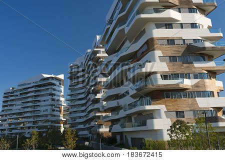 MILAN, ITALY - AUGUST 27, 2016: Milan (Lombardy Italy): modern residential buildings at Citylife (Tre Torri)