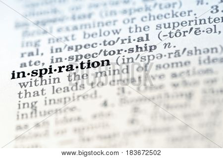 Definition of word inspiration in dictionary close up