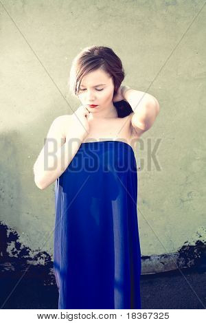Dreaming  Girl In A Blue Dress