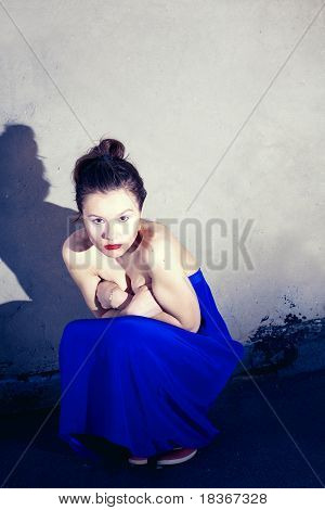 Glamour Type Photo Of Cute Brunette Sitting On The City Bridge
