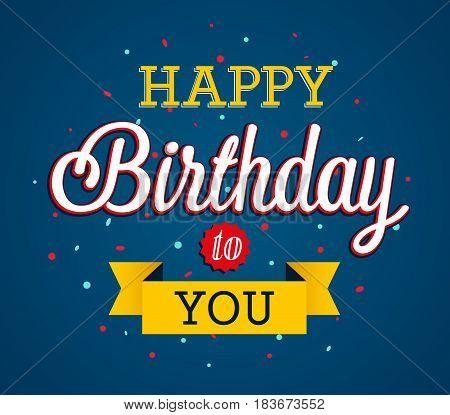 Happy Birthday vreative greeting card. Vector illustration.