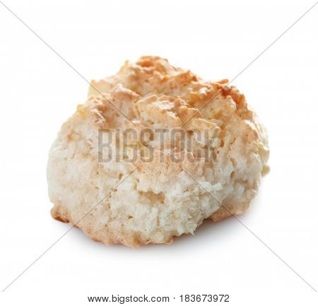 Delicious coconut macaroon on white background