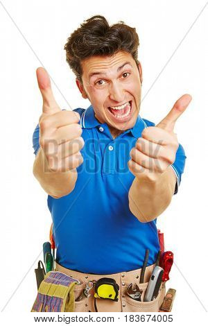 Cheering handyman holding both of his thumbs up