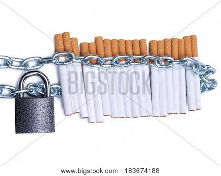Pile of cigarettes and padlock with chain on white background