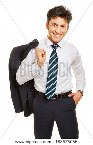 Smiling business man holding his jacket over his shoulder
