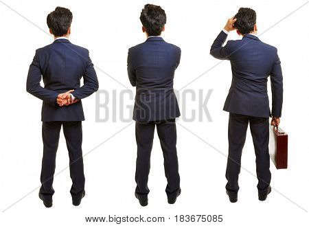 Three different versions of a businessman from behind isolated on a white background