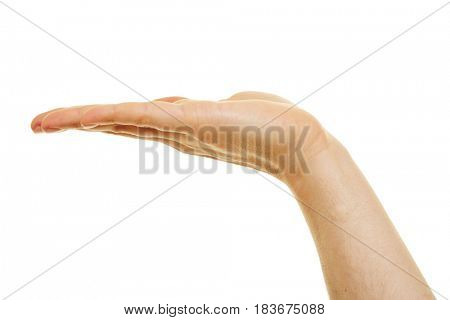 Side view of a palm of an open hand