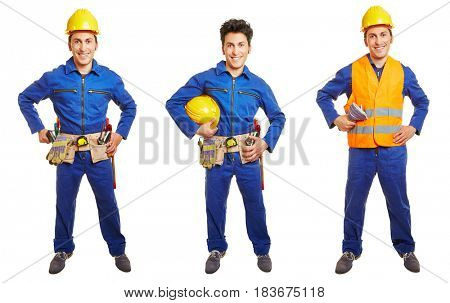 Three versions of blue collar worker with overall and hardhat isolated on white