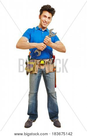 Craftsman with big wrench and tool belt isolated on white background