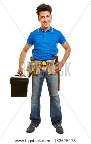 Full body shot of handyman standing with toolbox and tool belt