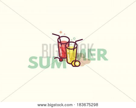 Glasses with refreshing drinks on the floor. Summer cocktails flat icon vector illustration. Happy hour or cocktail party invite flyer concept.