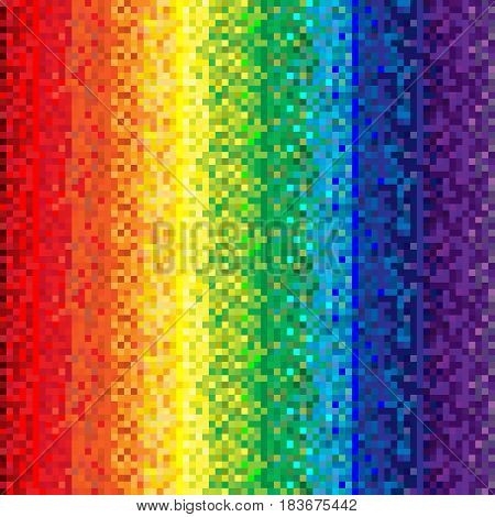 Abstract rainbow background in geometric style; Spectrum made of squares