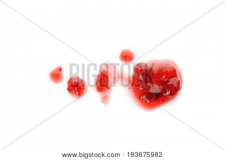 Cranberry sauce splatter on white background