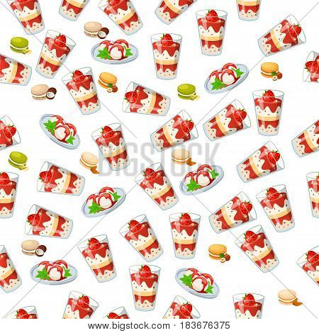 Very high quality original trendy seamless pattern with strawberry and mint ice cream in a glass