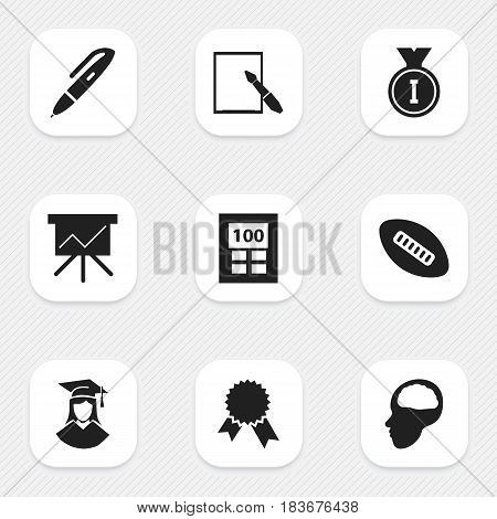 Set Of 9 Editable School Icons. Includes Symbols Such As Pen, First Place, Oval Ball And More. Can Be Used For Web, Mobile, UI And Infographic Design.
