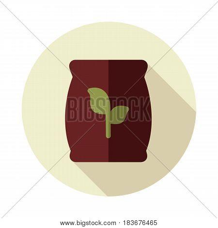 Fertilizer flat vector icon isolated Present By Green Nitrogen Potassium Phosphorus and Leaf Sack eps 10