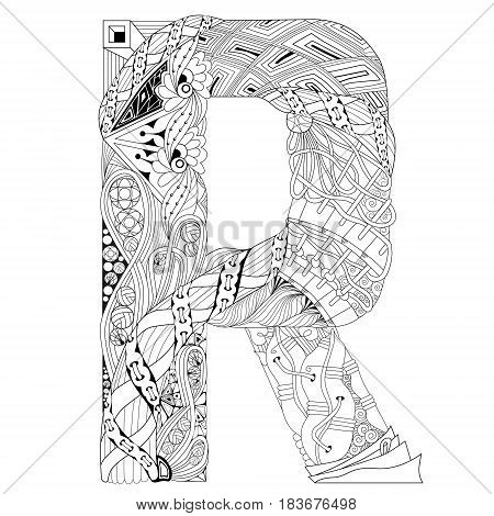 Hand-painted art design. Adult anti-stress coloring page. Black and white hand drawn illustration letter R for coloring book