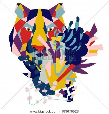 Abstract floral elements paper collage with low-poly tiger.Vector illustration hand drawn.Sketch ready for contemporary scandinavian flat design- poster, invitation, post card, t-shirt design.