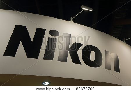 TAIPEI TAIWAN - DECEMBER 6, 2016:  Nikon. Nikon is a Japanese multinational corporation headquartered in Tokyo, Japan, specializing in optics and imaging products