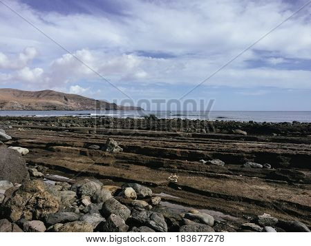 View from above on beach and Atlantic ocean on the Canary island Fuerteventura, Spain.