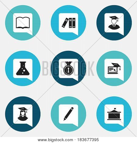 Set Of 9 Editable Science Icons. Includes Symbols Such As Distance Learning, Graduated Female, Pencil And More. Can Be Used For Web, Mobile, UI And Infographic Design.
