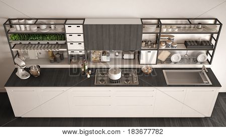 Minimalist white wooden kitchen with appliances close-up scandinavian classic interior design top view, 3d illustration