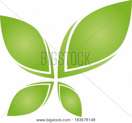 Four leaves in green, plant, leaves and eco logo