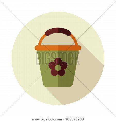 Bucket flat vector icon outline isolated garden eps 10