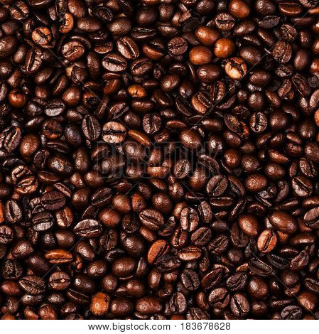 Coffee beans background macro. Dark Roasted coffee beans textured wall.paper for your design with copy space