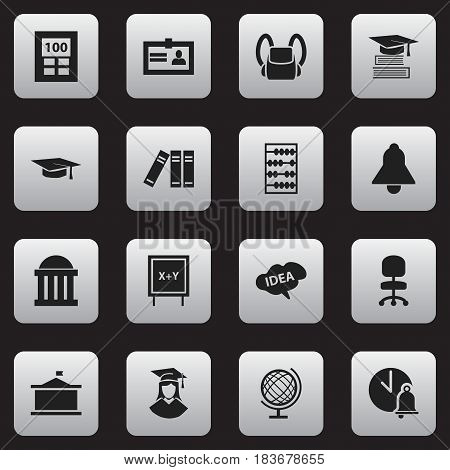 Set Of 16 Editable Graduation Icons. Includes Symbols Such As Bookshelf, Arithmetic, Courtroom And More. Can Be Used For Web, Mobile, UI And Infographic Design.