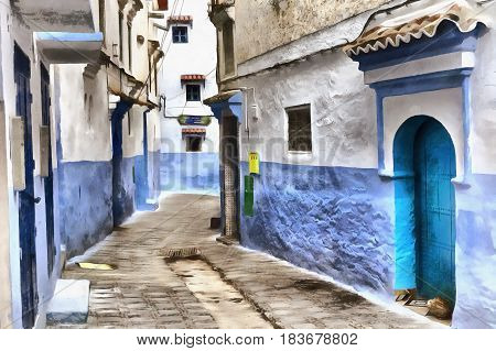 Colorful painting of streets of old moroccan town