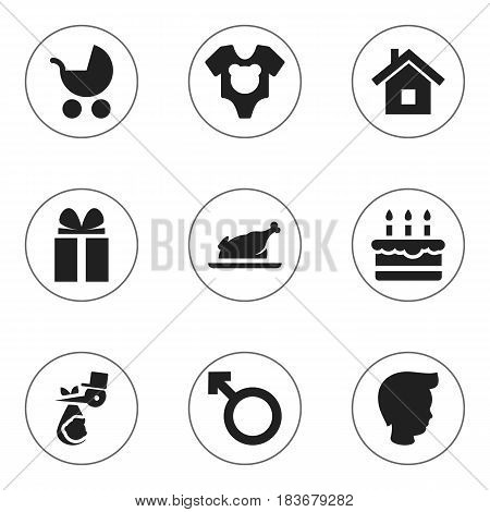 Set Of 9 Editable Kin Icons. Includes Symbols Such As Perambulator, Patisserie, Home And More. Can Be Used For Web, Mobile, UI And Infographic Design.