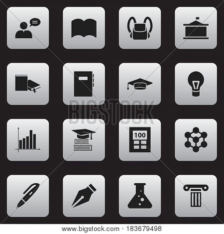Set Of 16 Editable Graduation Icons. Includes Symbols Such As Univercity, Graduate, Pillar And More. Can Be Used For Web, Mobile, UI And Infographic Design.
