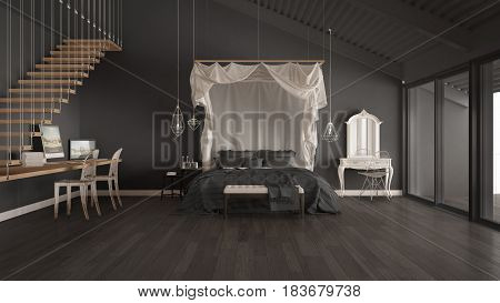 Canopy bed in minimalistic gray bedroom with home workplace scandinavian classic interior design, 3d illustration