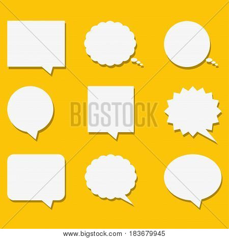Blank empty white speech bubbles with shadows in flat style. Vector illustration