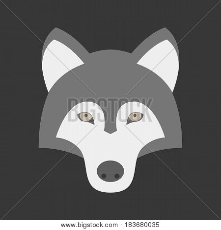 Vector wolf icon, wolf head icon, flat design