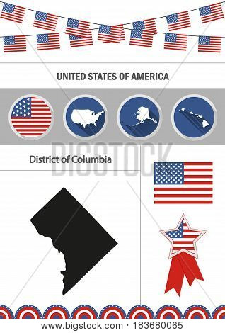 Map of District of columbia. Set of flat design icons nfographics elements with American symbols.