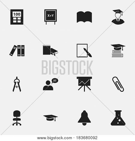 Set Of 16 Editable Science Icons. Includes Symbols Such As Dictionary, Staple, Blackboard And More. Can Be Used For Web, Mobile, UI And Infographic Design.