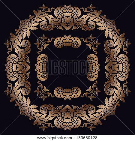 Abstract Vintage traditional decorative ornament openwork pattern oval frame in gold on a dark background