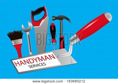 The concept of construction and repairs. The logo for professional handyman services. Trowel saw hammer wrench screwdriver and brush on a blue background.. Vector illustration.