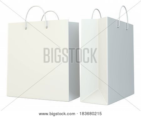 blank shopping paper bags set. 3d rendering isolated on white background