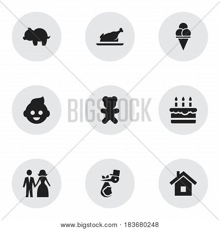 Set Of 9 Editable Family Icons. Includes Symbols Such As Married, Child, Patisserie And More. Can Be Used For Web, Mobile, UI And Infographic Design.