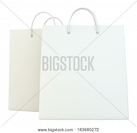 blank shopping paper bags template set. 3d rendering isolated on white background