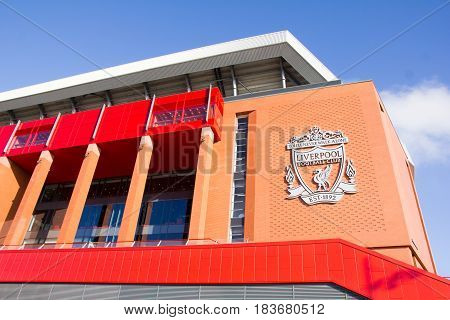 LIVERPOOL, ENGLAND - APRIL 1, 2017: View of the Anfield stadium home of Liverpool Football Club. The place is the sixth largest football stadium in England.