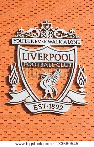 LIVERPOOL, ENGLAND - APRIL 1, 2017: Logo in the Anfield stadium home of Liverpool Football Club. The place is the sixth largest football stadium in England.