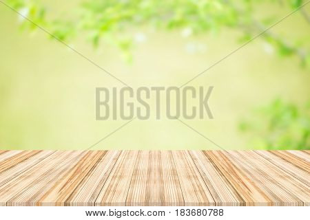wood table top on nature background,Space available for the product